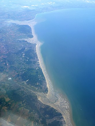 English Channel - Three French river mouths. Top to bottom: the Somme, the Authie and the Canche