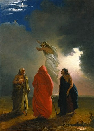 Three Witches - Scene from Macbeth, depicting the witches' conjuring of an apparition in Act IV, Scene I. Painting by William Rimmer