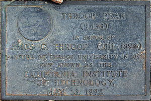 Amos G. Throop - Plaque on Throop Peak