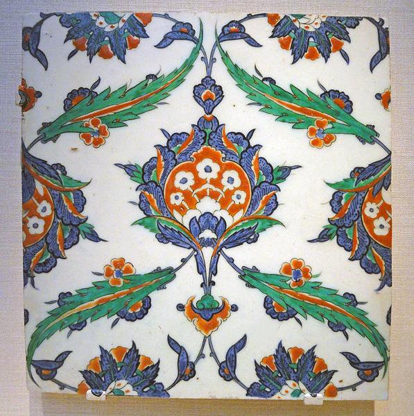 File:Tile, Iznik, Turkey, c. 1575 AD, stonepaste body painted under glaze - Freer Gallery of Art - DSC05441.JPG