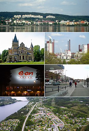 Timrå - Timrå montage, Top:Panorama view of downtown Timrå, from Alnön area, 2nd left:A native house and museum in Merlo Slotto, 2nd right:A headquarters in Östrands pulp (Östrands massafabrik), 3rd left:Sydkraft Arena (E.ON Arena), 3rd right:Köpmansgatan Square, Bottom:Aerial view over Sörberge with Indalsälven left and Fairhaven in the upper right corner