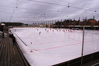 Karlstad - Bandy at Tingvalla Ice Stadium, with the former military barracks of the Värmland Regiment seen to the far right