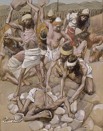 Stoning - The Sabbath-breaker Stoned. Artistic impression of episode narrated in Numbers 15. James Tissot c.1900