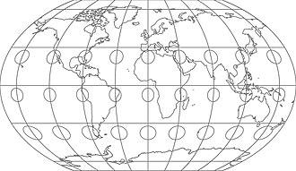 Kavrayskiy VII projection - The Kavrayskiy VII projection with Tissot's indicatrix of deformation