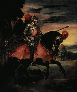 Titian's state portrait of Emperor Charles V at Mühlberg (1548) established a new genre, that of the grand equestrian portrait. The composition is steeped both in the Roman tradition of equestrian sculpture and in the medieval representations of an ideal Christian knight, but the weary figure and face have a subtlety few such representations attempt.
