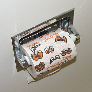 Toilet paper orientation - Paper mounted under with upside-down images and text