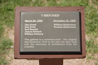 Shootout at Wilson Ranch - A plaque at the Tombstone Courthouse State Historic Park listing the names of the men legally hanged in Tombstone.
