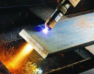 Plasma weapon - Close up of a Hypertherm HyPerformance plasma torch cutting metal.
