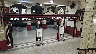 Baker Street - Image: Traditional London Transport signage at Baker Street at 22.14hrs panoramio