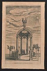 Triomfboog met Minerva en Mercurius