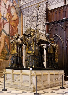 The tomb of Christopher Columbus, inside the Cathedral of Seville