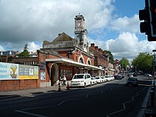 Photograph showing the exterior of Tunbridge Wells station, down side buildings.