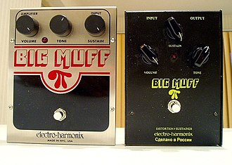 Distortion (music) - Big Muff fuzzboxes: a NYC re-issue (L) and a Russian Sovtek version (R)