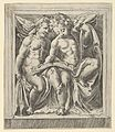 Two seated angels, facing left, reading from a song book, from The Angels' Concert MET DP836934.jpg
