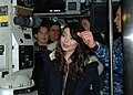U.S. Navy Cmdr. Steven Wilkinson, the commanding officer of submarine USS Hartford (SSN 768), explains to the cast of Nickelodeon's TV show iCarly how to use the periscope 120111-N-AW342-043.jpg