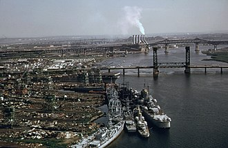 Federal Shipbuilding and Drydock Company - Site of the former Federal yard at Kearny in foreground on left, c.1974.