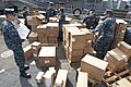 U.S. Sailors conduct an inventory of medical supplies aboard the amphibious dock landing ship USS Pearl Harbor (LSD 52) at Naval Base San Diego May 9, 2013, in preparation for Pacific Partnership 2013 130509-N-SK590-470.jpg