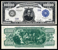 $10,000 Federal Reserve Note, Series 1918, Fr.1135d, depicting Salmon P. Chase.