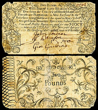 Rhode Island pound - Early issue £2 Colonial currency from the Colony of Rhode Island dated 15 Aug 1737