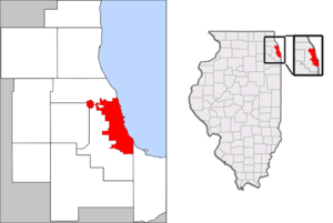 Municipal annexation in the United States - A map of the city of Chicago showing the connection into DuPage County for O'Hare International Airport.