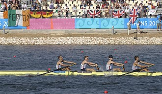 Rowing at the 2004 Summer Olympics - Team USA competes in the lightweight four rowing competition.