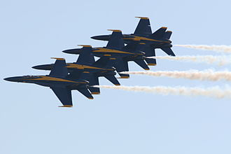Slow roll (aeronautics) - Slow rolls being performed by the Blue Angels while in formation.