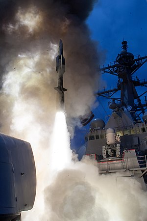 USS John Paul Jones (DDG-53) - USS John Paul Jones launches a RIM-174 Standard ERAM (Standard Missile-6, SM-6) during a live-fire test of the ship's Aegis weapons system in the Pacific Ocean in June 2014