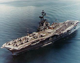 1969 EC-121 shootdown incident - Image: USS Ticonderoga (CVS 14) passing through Sunds Strait on 24 April 1971 (NH 97488 KN)