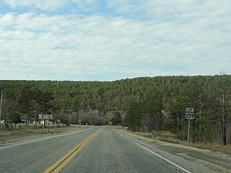 U.S. Route 259 - Northern terminus of US 259 in the Ouachita Mountains