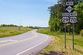 U.S. Route 70 in North Carolina - US 29/US 70/NC 150, along WilCox Way towards Spencer