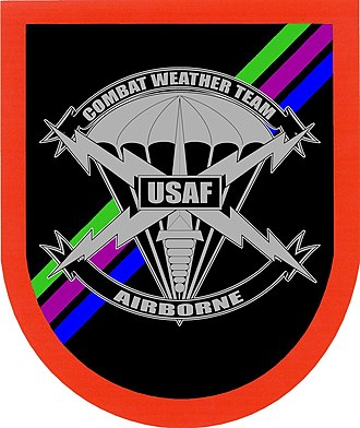 United States military beret flash - One of two former SOWT beret flashes with the former Combat Weather Team crest