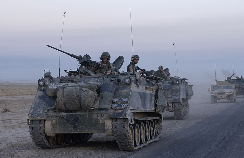 """سد النهضة الاثيوبي """" ملف شامل """" الجزء الثاني: الخيار العسكري ( موضوع فريق فرسان المجد ) 800px-US_M113_in_Samarra_Iraq"""