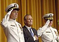 US Navy 050722-N-5390M-001 Secretary of Defense Donald Rumsfeld, center, Adm. Vern Clark, right, Chief of Naval Operations (CNO) and Adm. Mike Mullen salute the colors during a late-morning change-of-command ceremony.jpg