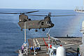 US Navy 060321-N-5334H-080 An Army CH-47 Chinook helicopter assigned to the 52nd Aviation Regiment pulls in for a landing aboard amphibious command ship USS Blue Ridge (LCC 19).jpg