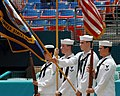 US Navy 070722-N-2805L-049 The ceremonial guard from USS Harry S. Truman (CVN 75) presents the colors during the opening ceremonies of the Florida Marlins and Cinncinatti Reds major league baseball game.jpg