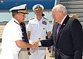 US Navy 070914-N-5783F-005 Adm. Eric Olson, commander of U.S. Special Operations Command, greets Vice President Dick Cheney upon arrival to MacDill Air Force Base.jpg