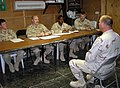 US Navy 071202-N-9643K-022 Aviation Electronics Technician 1st Class James Taylor, assigned to Fleet Composite Squadron (VC) 6, answers questions as part of the Sailor of the Year screening process.jpg