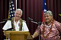 US Navy 080221-N-8623G-070 Samoa Prime Minister Tuilaepa and Commander, U.S. Pacific Command, Adm. Timothy J. Keating speak to members of the Samoan press.jpg