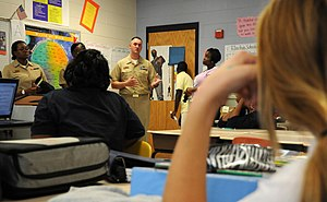 Williston School - Williston Middle School in 2010.  Here, students are being told about life in the US Navy.