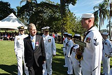 US Navy 110507-N-1X994-001 Members of the U.S. 7th Fleet Band are inspected by acting Governor and Chief Justice of Queensland the Honorable Paul d.jpg