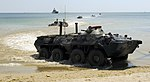 US Navy 110615-N-NW827-070 Ukrainian armored personnel carriers arrive ashore during an amphibious beach landing demonstration as part of exercise.jpg