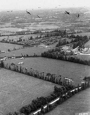 Mission Elmira - C-47s cut loose their CG-4 gliders over the landing zone.