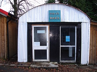 Mary's Meals - The original shed in Dalmally used to store aid during the Balkan conflict, now Magnus's office