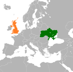 Map indicating locations of Ukraine and United Kingdom