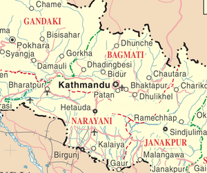 Left: Map showing Kathmandu and the surroundin...