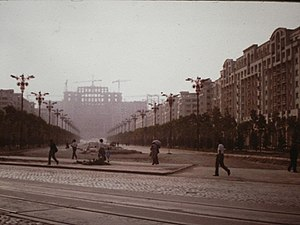 Palace of the Parliament - Palace of the Parliament under construction on 1 May 1986. View toward Unirii Boulevard