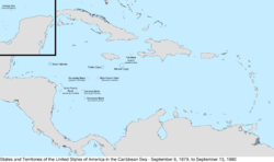 Map of the United States in the Caribbean Sea from September 8, 1879, to September 13, 1880