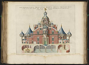 Uraniborg - Tycho Brahe's Uraniborg main building from the 1663 Blaeu's Atlas Major