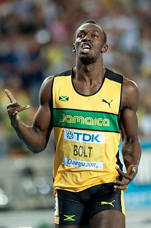 2011 World Championships in Athletics – Men's 200 metres - Usain Bolt winning the 200m
