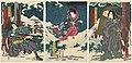 Utagawa Kunisada II - Actors Onoe Kikujirô II as the Kumano Pilgrim Shôrin-ni, Actually Funadama Osai, Ichimura Kakitsu IV as the Country Girl Omura, Actually the Little Fox Reiza, and Ichikawa Kodanji IV a.jpg